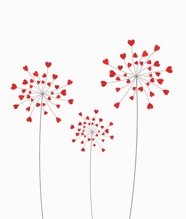 Dandelion flowers with hearts. Vector