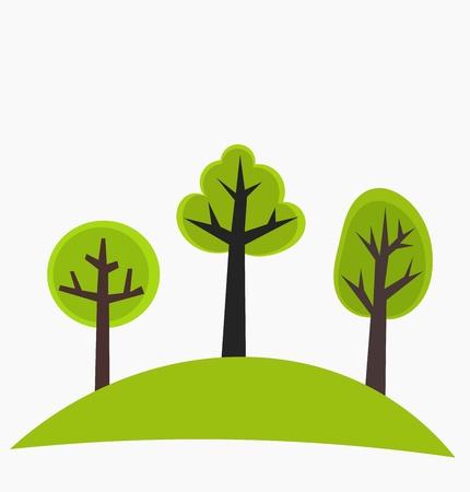 arboles de caricatura: �rboles en la colina verde -