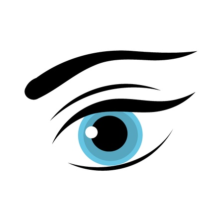 make up woman: Beautiful blue woman eye. Illustration