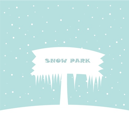 Snow park - white board in snowy landscape. Vector