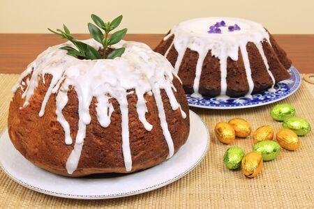 Traditional polish Easter yeast cakes baba photo