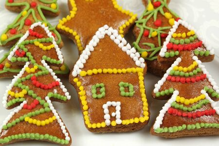 Gingerbread cookies - house and Christmas trees photo
