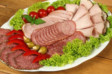 Plate with various ham, salami and sausage photo