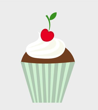 Chocolate cupcake with cream and cherry Vector