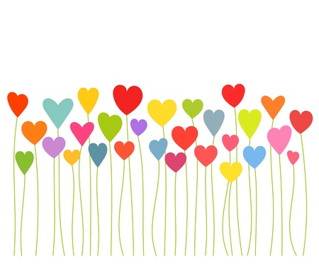 Colorful hearts growing - Valentines concept.  Vector