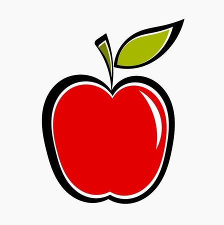 manzana: Manzana roja icono. Vectores