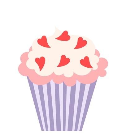 fairycake: Cupcake with hearts decoration. illustration