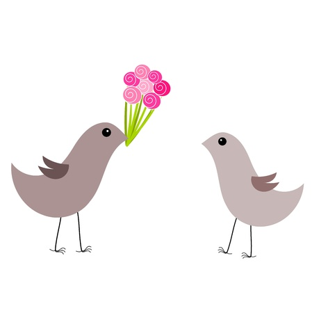 Couple of gray birds. Male bird gives a bouquet of roses female bird Stock Vector - 17685185