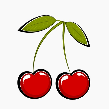 Two sweet cherries,  illustration Vector
