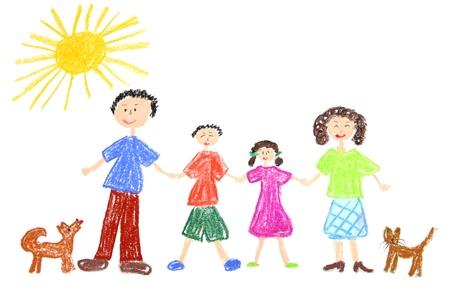 dessin enfants: Famille heureuse avec chien et chat. Dessin d'enfant