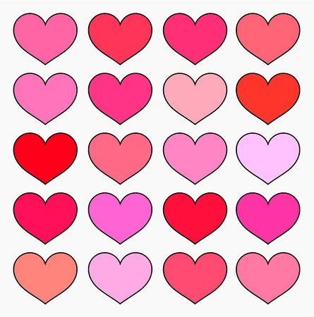 Hearts in various shades of red and pink color. Valentine's illustration Stock Vector - 17801125