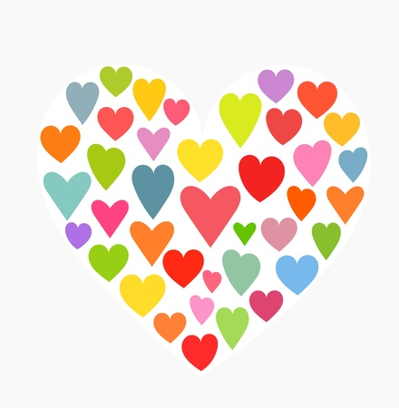 Heart made of little colorful hearts. Vector illustration Vector
