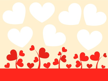 Hearts growing on meadow. Vector Valentines day card Vector