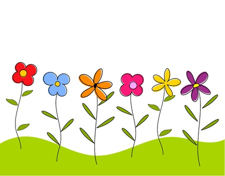 Flowers on meadow. Vector illustration Stock Vector - 18137227