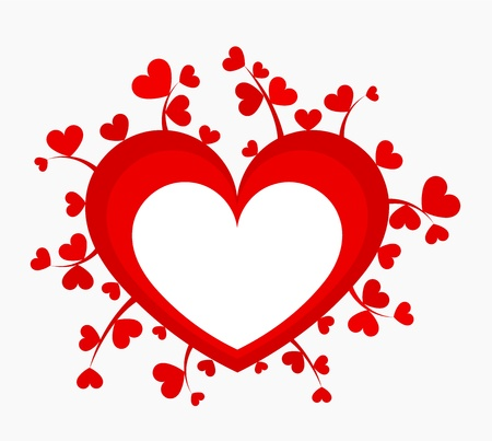 Red heart with many little growing hearts. Vector illustration Vector