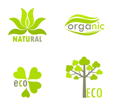 Eco, natural and organic symbols - tree and leaves environmental icons. Vector illustration Vector