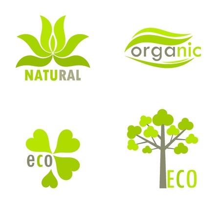 Eco, natural and organic symbols - tree and leaves environmental icons. Vector illustration Stock Vector - 18137228