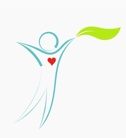 Natuurlijke eco man met blad pictogram. Vector illustratie