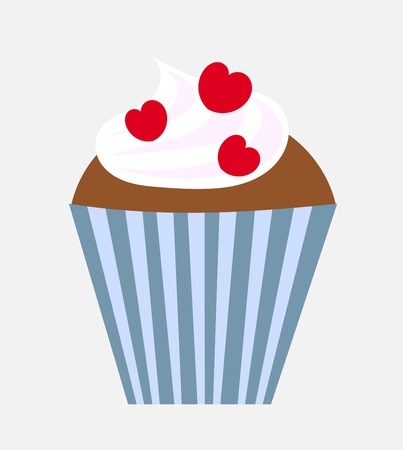 fairycake: Valentine cupcake with red hearts. Vector illustration