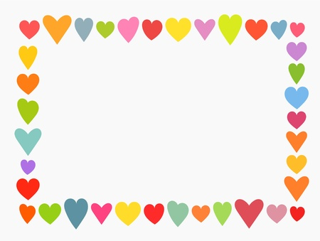 rows: Valentines day, colorful cute hearts frame. Vector illustration