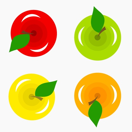 Various kinds of apples - top view. Vector illustration Vector
