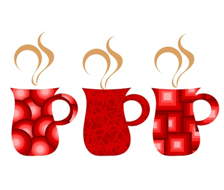 Set of abstract red mugs with coffee - vector illustration Vector