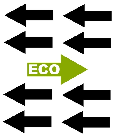 be different: Ecological concept with arrows - be different. Vector illustration