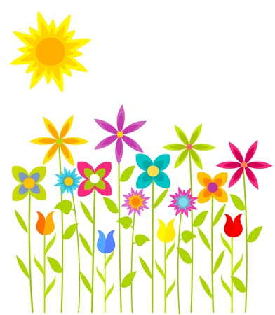 Spring flowers growing on sunny  meadow. Vector illustration Stock Vector - 18545033