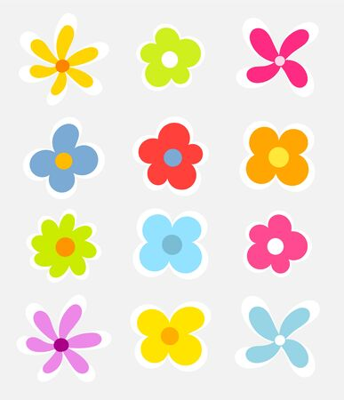 colorful sticker: Cute colorful flowers collection - vector illustration
