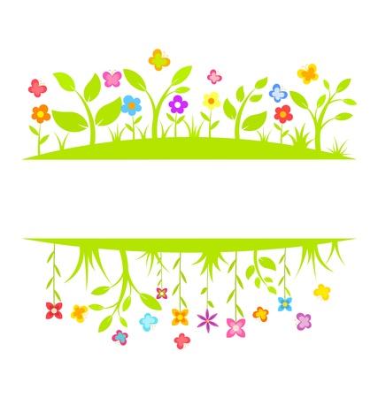 flor caricatura: Flores de primavera y el borde de mariposas. Vector ilustración de fondo