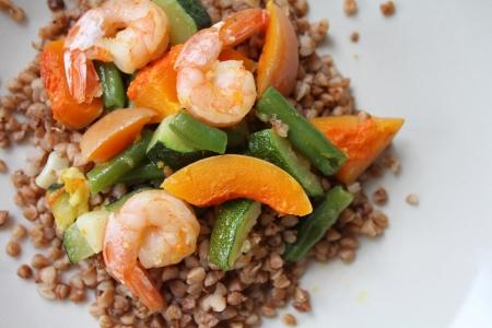 groat: Buckwheat with shrimps, green beans, pumpkin and zucchini