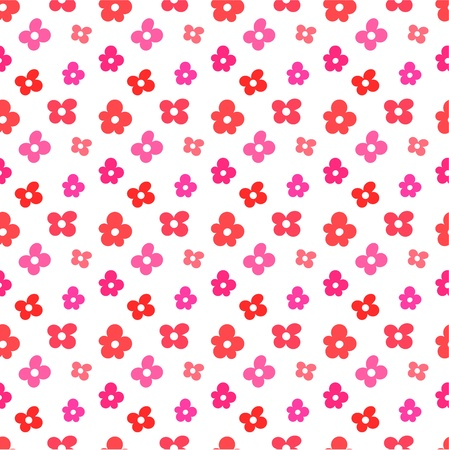 Red and pink flowers seamless pattern. Vector illustration Vector