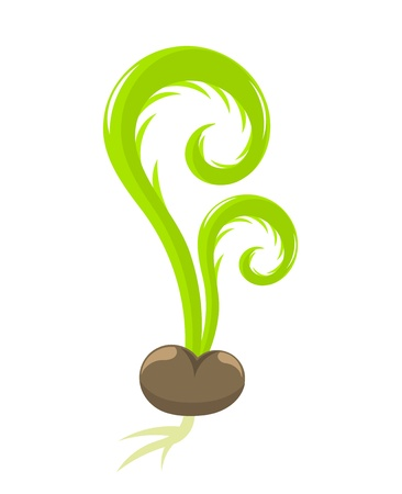 seedling growing: Seedling growing from the seed. Spring vector illustration