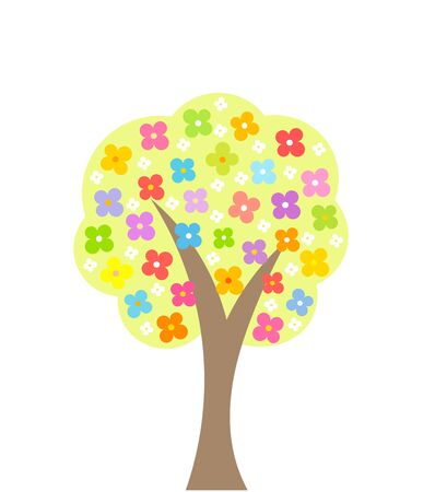 abloom: Spring blooming tree. Vector illustration Illustration