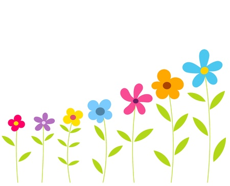 Flowers growing in a row. Vector Stock Vector - 19041058
