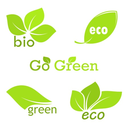 Green eco and bio icons with leaves Vector