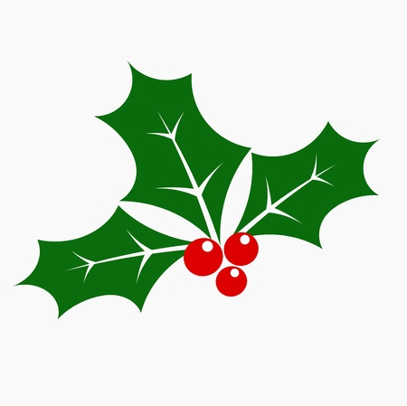 retro christmas: Holly berry - three leaves and fruits. Vector illustration Illustration