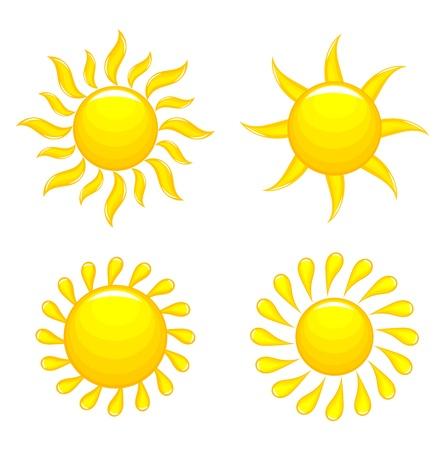 Set of glossy suns. Vector illustration Stock Vector - 19374026