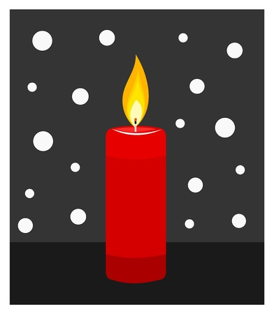 alight: Red candle burning in darkness. Vector illustration Illustration