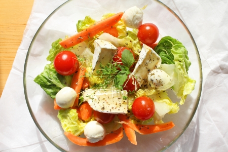 caprese salad: Colorful cheese and vegetable salad. Healthy spring food