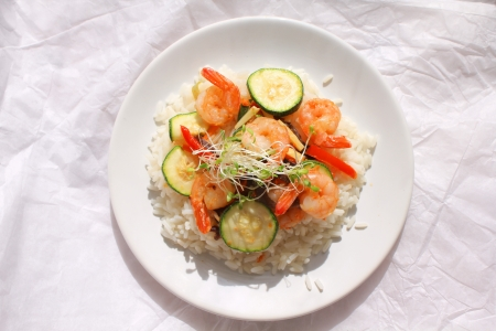 Rice with shrimps and vegetables photo