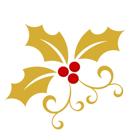 holly leaf: Gold holly berry - Christmas symbol illustration