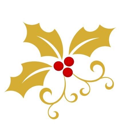 hulst: Gouden holly berry - Kerst symbool illustratie Stock Illustratie