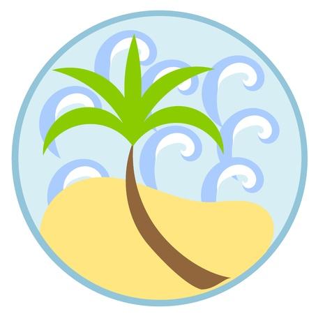 lone tree: Symbol of summer vacation: palm tree, sea and beach