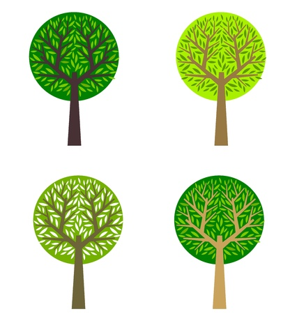 abstract design elements: Set of trees  Vector illustration