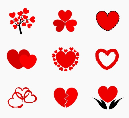Hearts - collection of icons illustration Vector