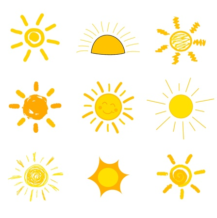 Symbolic sun icons  Childs style of drawing illustration Vector