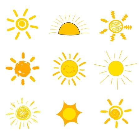 Symbolische zon iconen Childs stijl van tekening illustratie Stock Illustratie