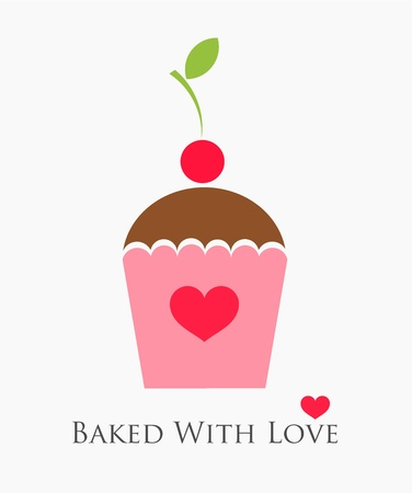 Sweet cupcake with cherry. Baked with love Vector