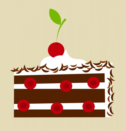 porcion de torta: Bosque Negro pastel de cereza de la ilustración